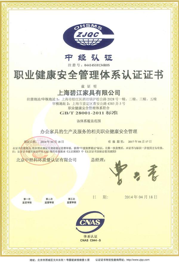 碧江职业健康安全管理体系认证