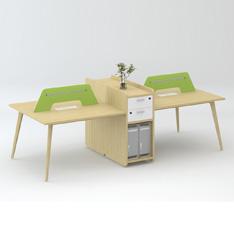四人位办公桌苏莱曼橡木进口暖白简约板式办公位