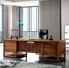 明代风格新中式实木大班台进口楠木总裁办公桌