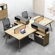 办公桌椅组合电脑桌双六6人简约现代屏风工作位四人位4职员桌