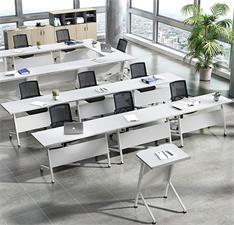 白色板式学生办公折叠带轮多功能员工会议培训条桌椅组合