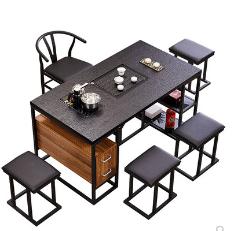 茶桌椅组合简约现代火烧石茶桌功夫茶几