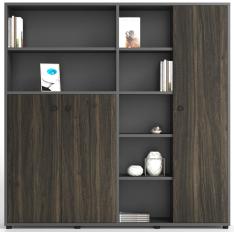 木质档案资料书桌落地储物带门组合办公室大文件柜子
